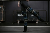 Blue Stripe Knit Fleece Legwarmers